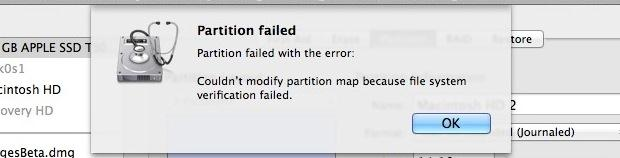 resolve partition failed
