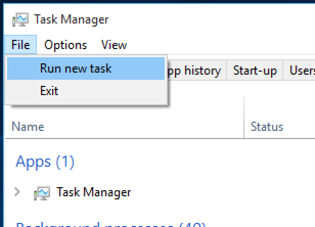 run new task to repair and recover corrupt Windows files