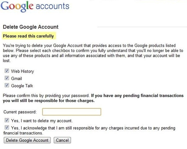 how to delete a Gmail account-confirmation