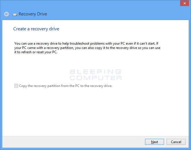create a system Recovery USB Drive step 1
