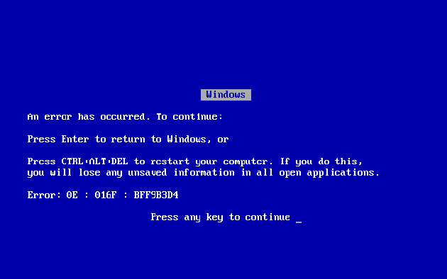 windows blue screen