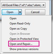 repair Excel file step 4