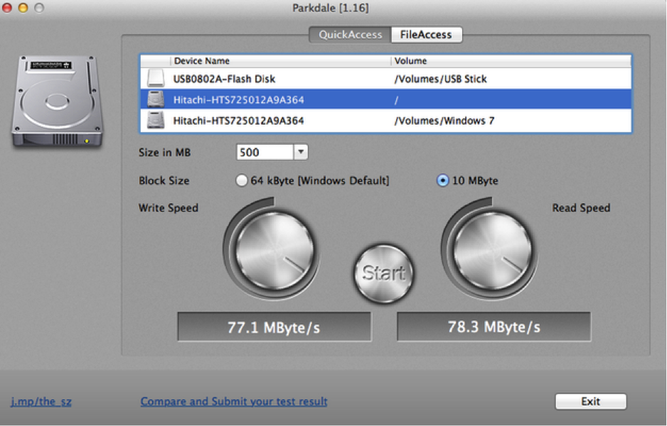 Hard drive speed test on Mac-Parkdale