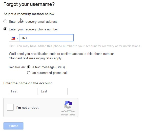 recover Gmail username