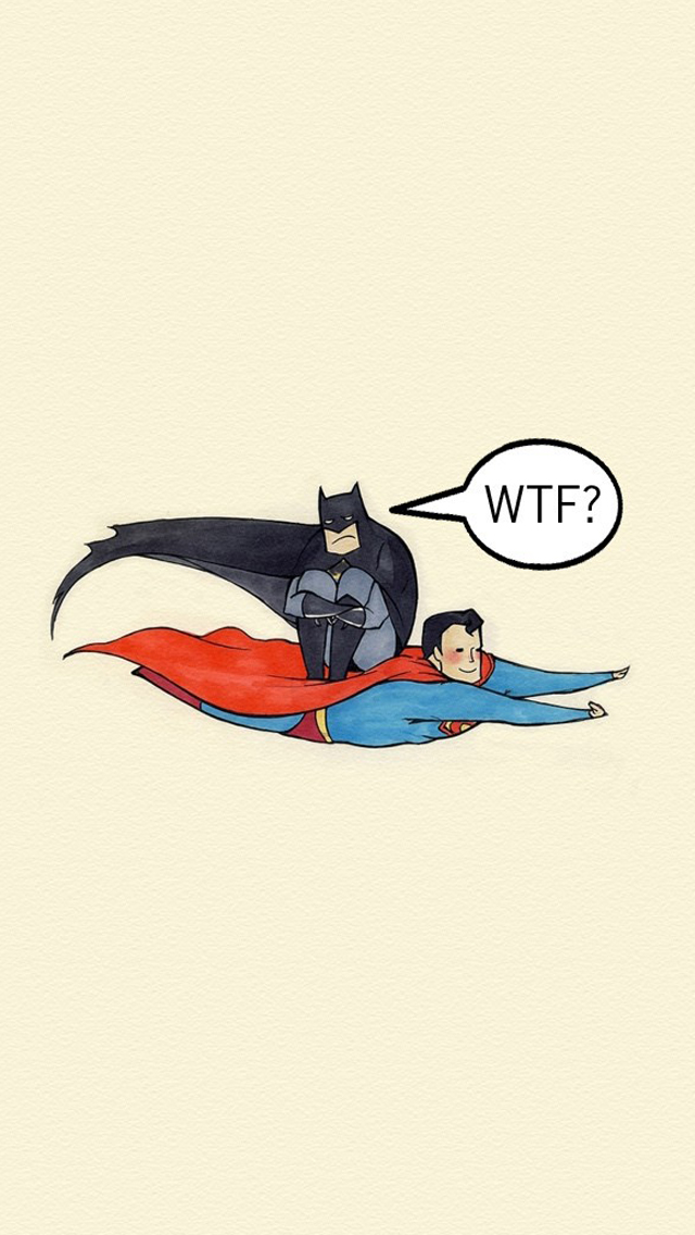 20 funny iphone wallpapers-superman carrying batman