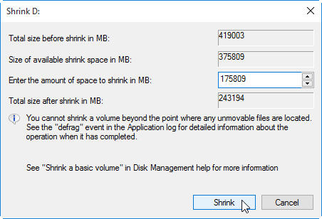 partition hard drive step 3