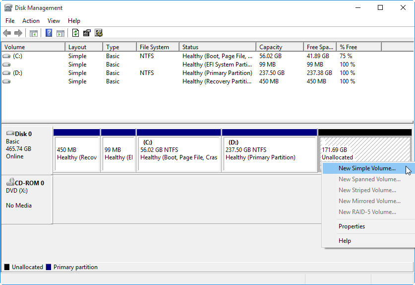 partition hard drive step 4