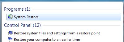 System restore to fix blue screen 0x0000001e-step 1