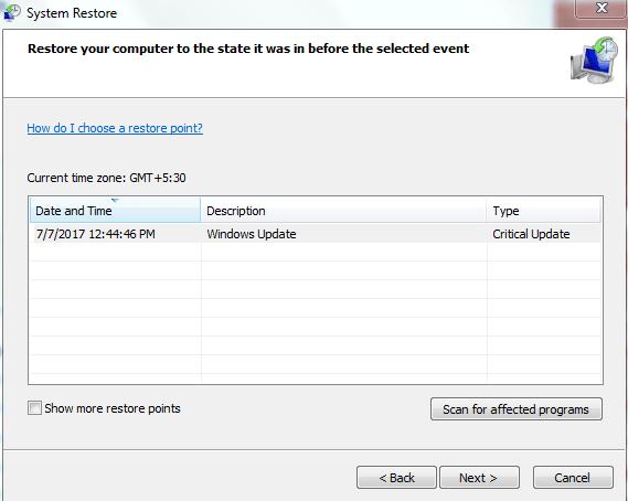 System restore to fix blue screen 0x0000001e- step 3