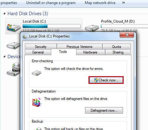 Run hard disk check to fix bluescreen bccode 9f-step 6