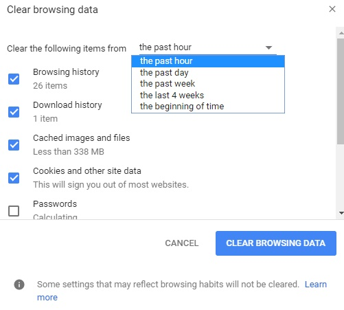 clear browing data on google