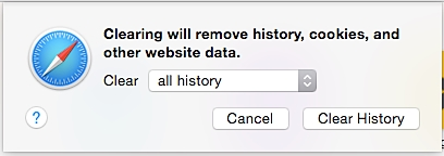 clear history on safari