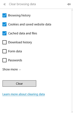 clear temporary files in microsoft edge