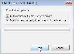 step 2 repair hard disk to fix blue screen 0x00000109