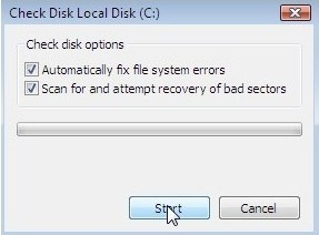 Fix hard disk error to fix blue screen bccode 1a