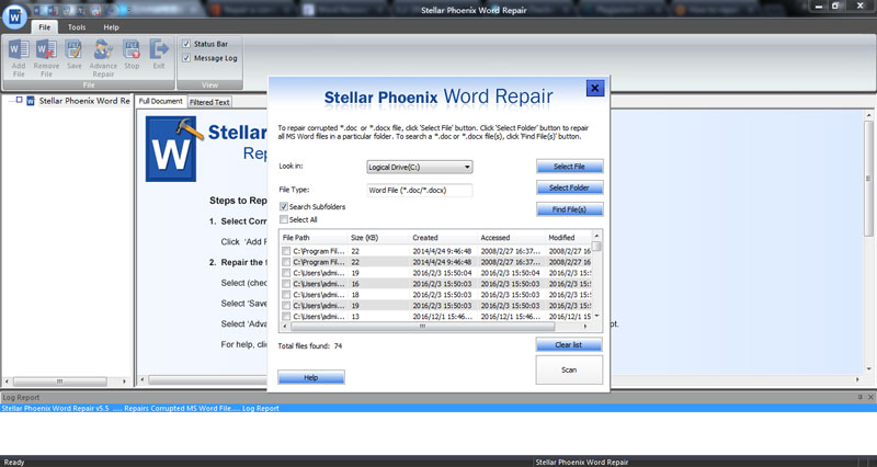 repair corrupt doc and docx word file step 2