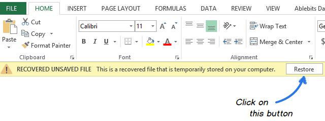excel files recovery step 6