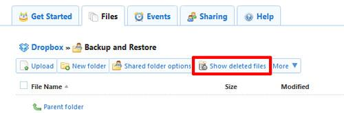 how to recover Dropbox deleted files step 1