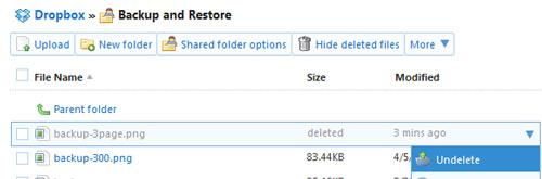 how to recover Dropbox deleted files step 2