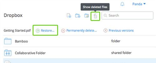 recover deleted files dropbox step 3