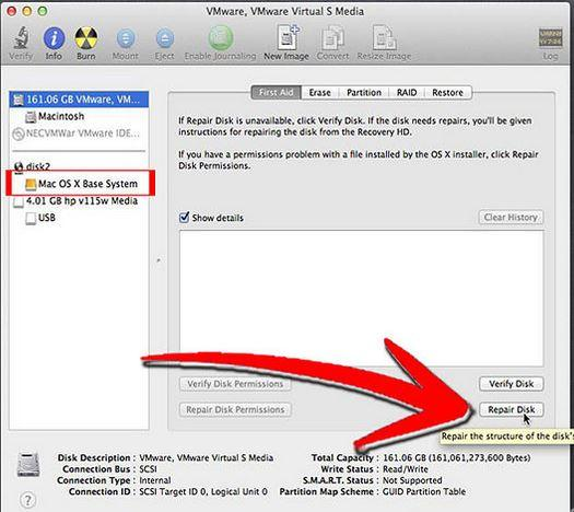 repair hard disk with disk utility step 3