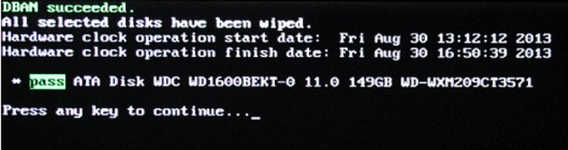 DBAN to erase hard drive