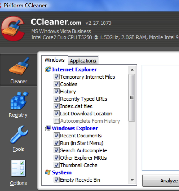 comment effacer le disque dur avec Ccleaner
