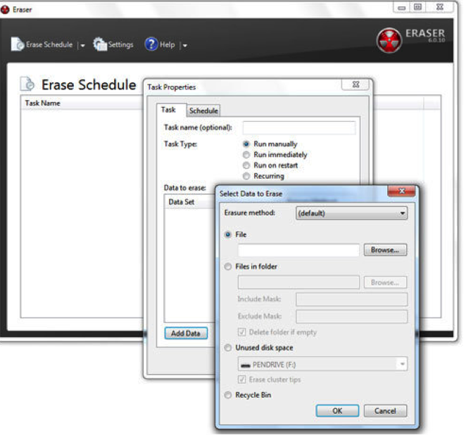 comment effacer le disque dur en utilisant Eraser