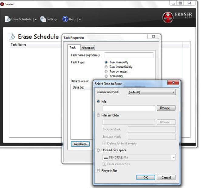 how to erase hard drive using Eraser