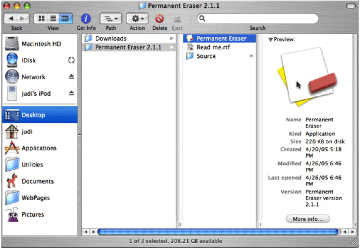effacer le disque dur avec Permanent Eraser