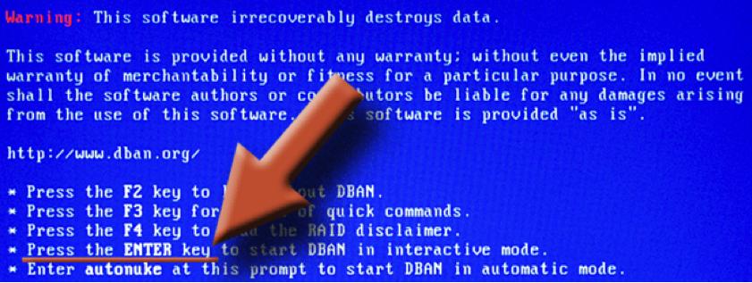 DBAN pour sécuriser l'effacement du disque dur
