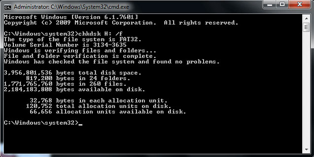 perform a chkdsk