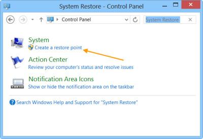 create a system restore step 1