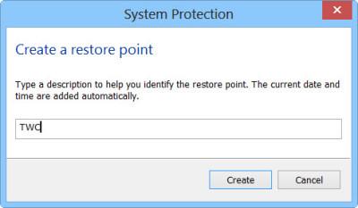 create a system restore step 3