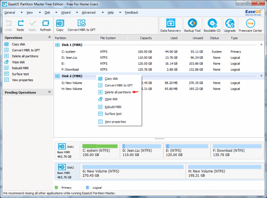 delete partition with EASEUS Partition Master step 2