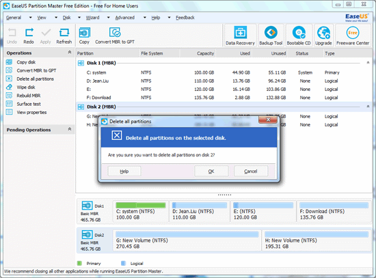 delete partition with EASEUS Partition Master step 3