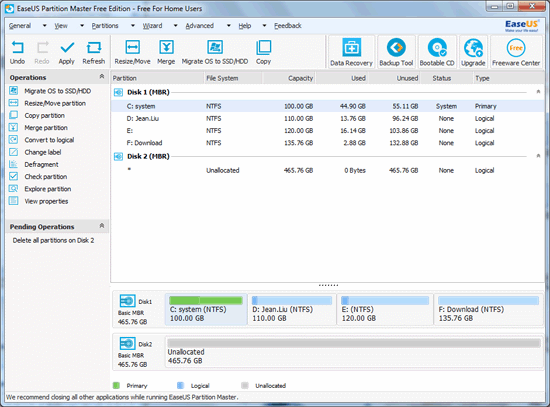 delete partition with EASEUS Partition Master step 4