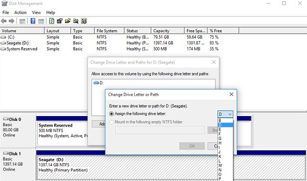 Rename a new drive letter to recover data from sd card