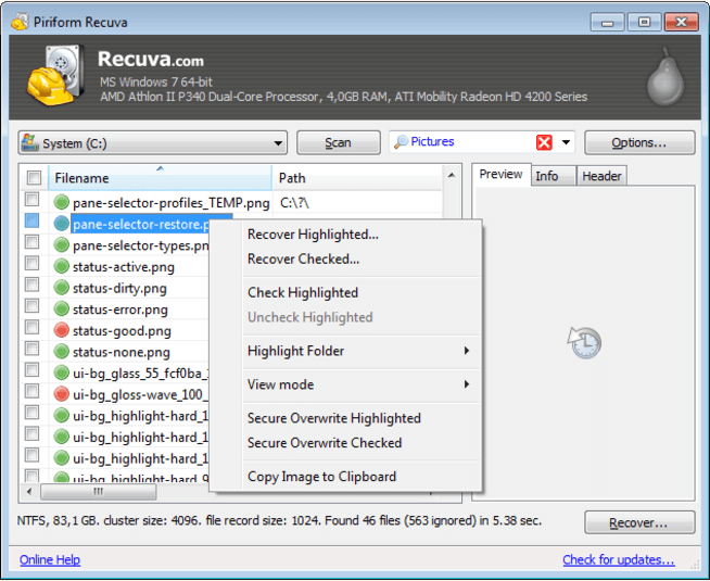 recuva free sd card recovery software
