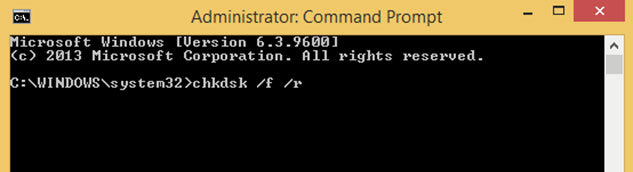 fix hard drive problems with command prompt step 1