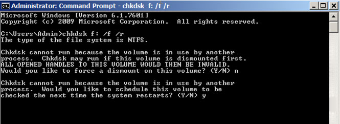 fix hard drive problems with command prompt step 2