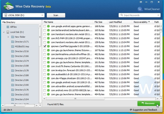 wise data recovery for undeleted files