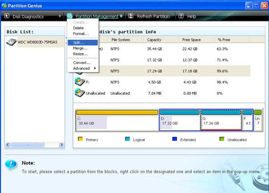 partition hard disk step 1