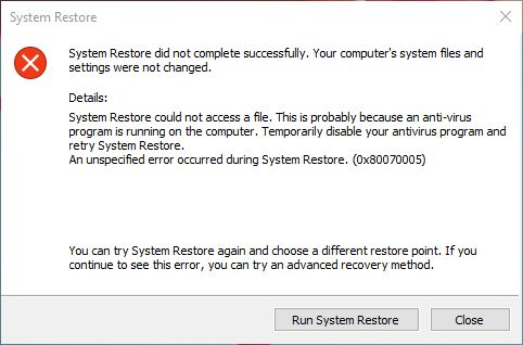 system restore not working