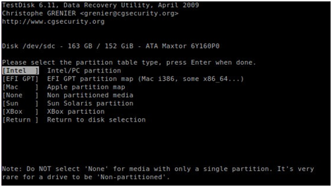 Test Disk Linux data recovery