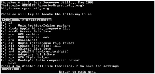 Photo Rec Linux data recovery