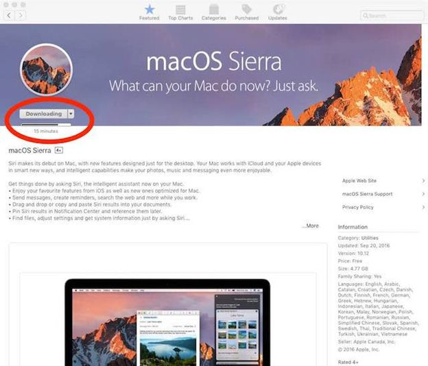 how to update to mac os sierra from 10.7.5 - 1