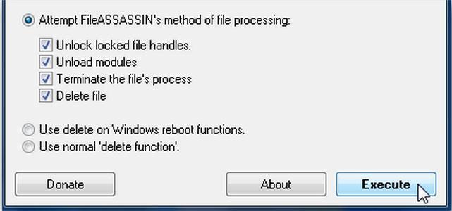 Ausführen, um nicht-entfernbare Dateien zu löschen