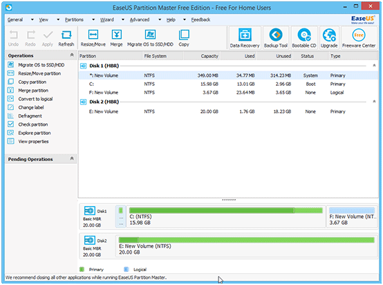 resize partition with easeus step 1