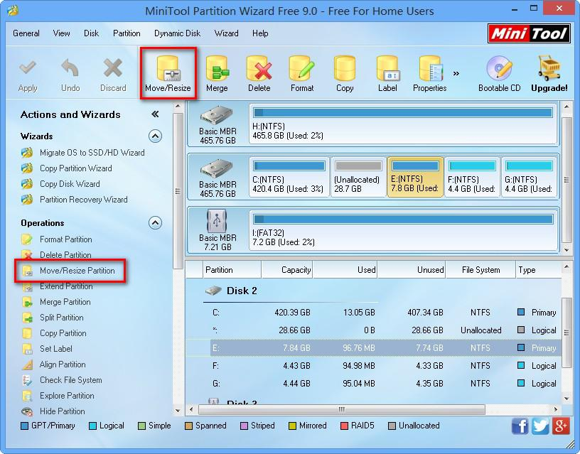 resize partition with MiniTool Partition Wizard step 1